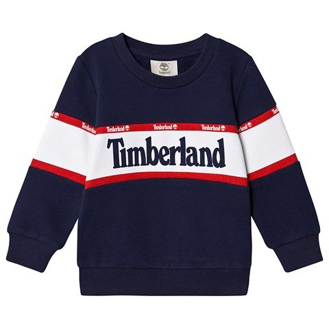 Timberland Navy and White Timberland Logo Sweatshirt