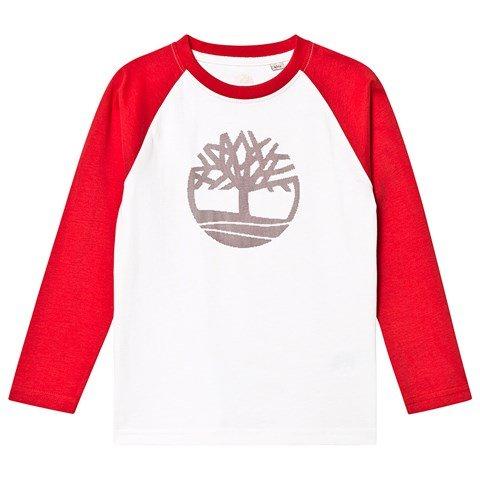 Timberland White and Red Timberland Tree Long Sleeve T-Shirt