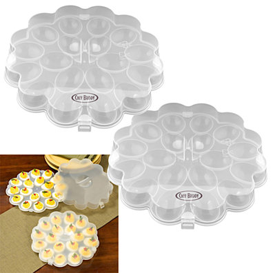 Set of 2 Deviled Egg Trays w/ Snap On Lids - Holds 36 Eggs