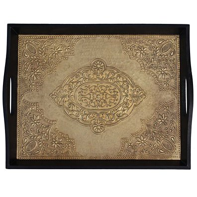 Benzara Brass Decorated Wooden Tray, Black And Gold