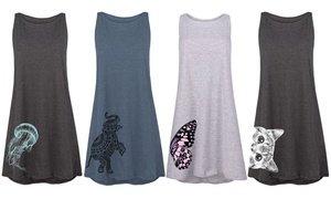 Women's Animal Side Hit-Print Tank Dresses