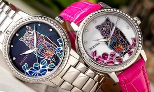 Bertha Madeline Owl Engraved Mother-Of-Pearl Watch