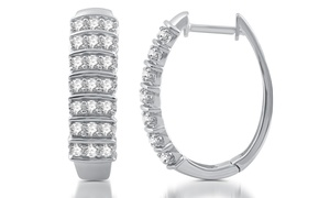 1 CTTW Diamond Earrings in Rhodium-Plated Sterling Silver by DeCarat