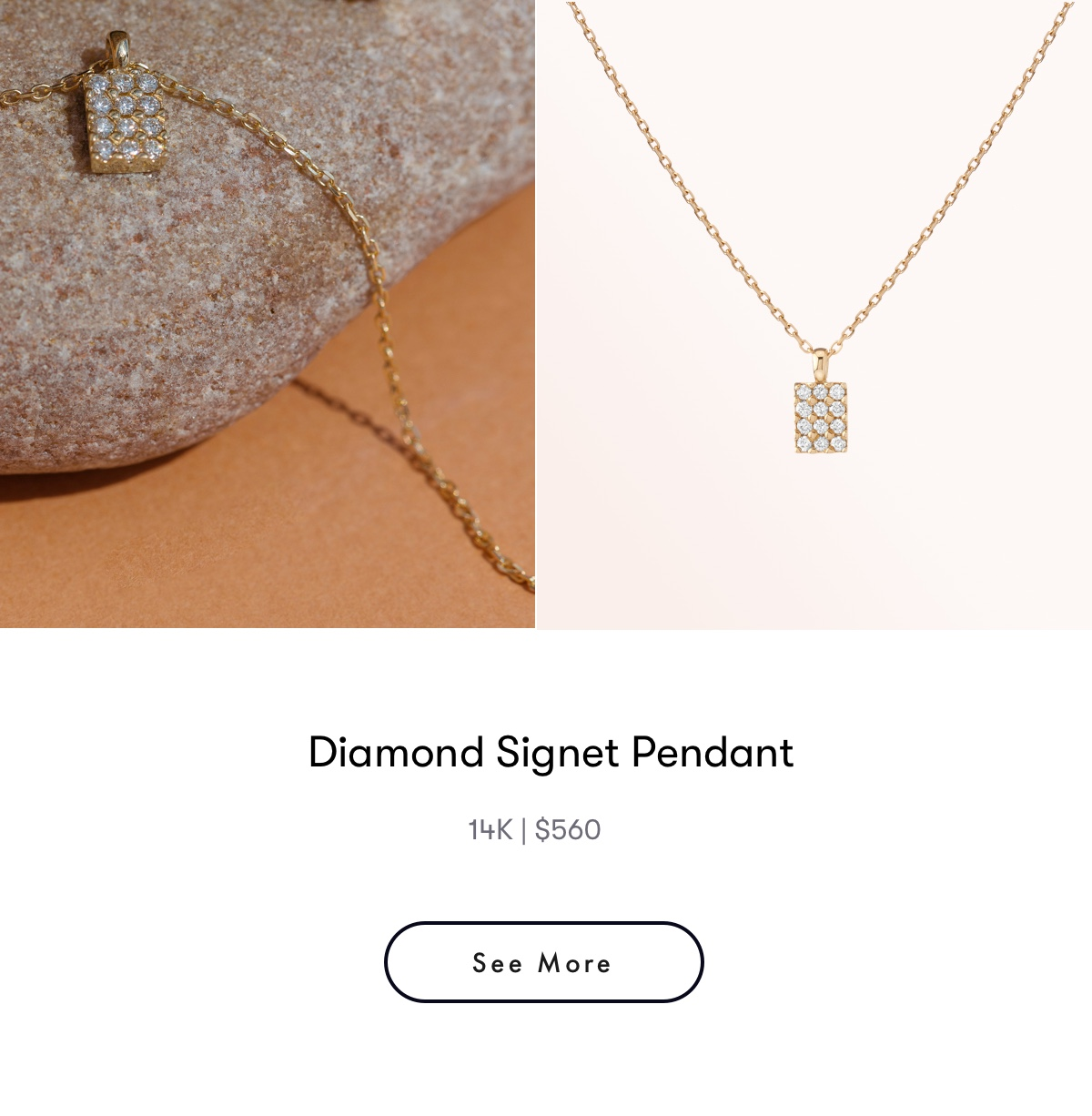 diamond signet pendant