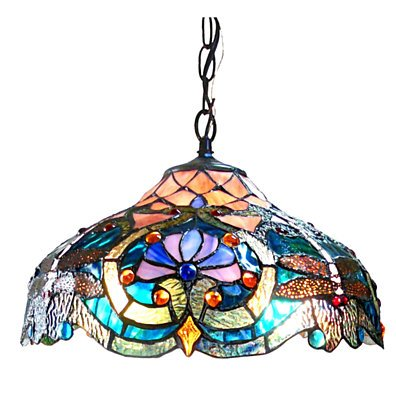 CH1B715BD17-DH2 LYDIA Tiffany-style 2 Light Victorian Ceiling Pendant Fixture 17
