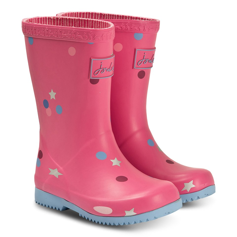 Joules Pink Star Confetti Wellies