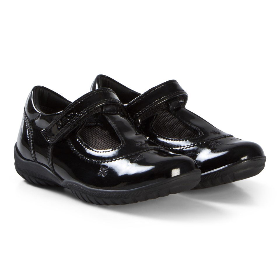 Geox Black Patent Leather Flower Junior Shadow Embroidered T Bar Shoes