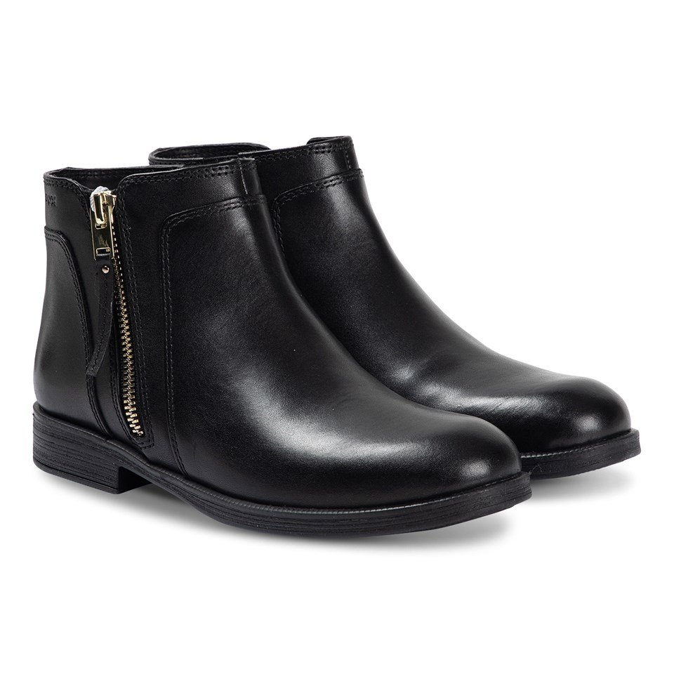 Geox Black Agata Leather Zip Ankle Boots