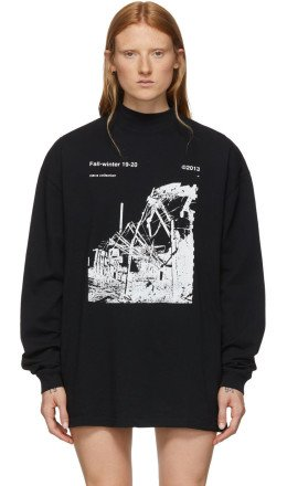 Off-White - Black & White Ruined Factory Long Sleeve T-Shirt