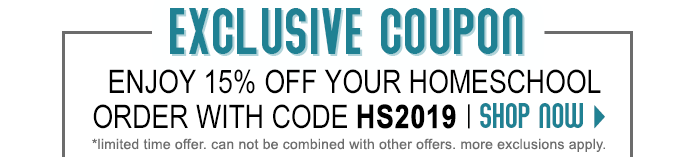 15% off your homeschool order with HS2019