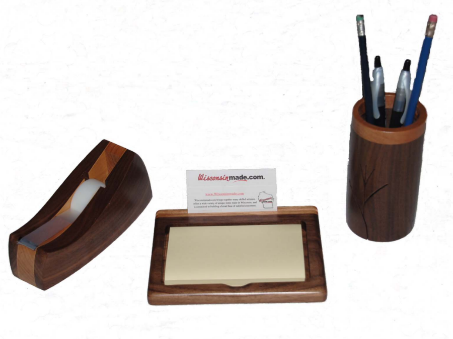 Handcrafted Wood Desk Set by A Gift of Wood available on WisconsinMade Artisan Collective
