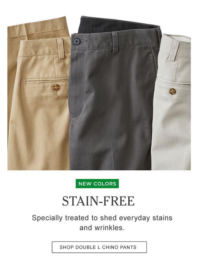 Stain-Free. Specially treated to shed everyday stains and wrinkles.