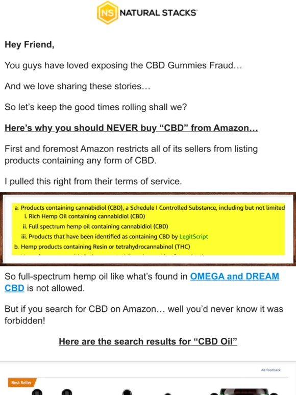 Natural Stacks: Never buy CBD from Amazon    | Milled