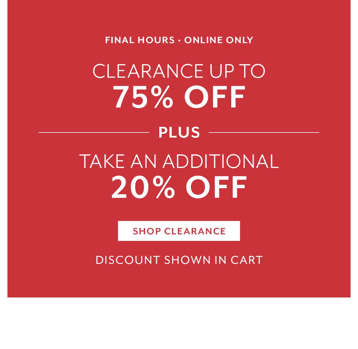 Extra 20 Off Clearance