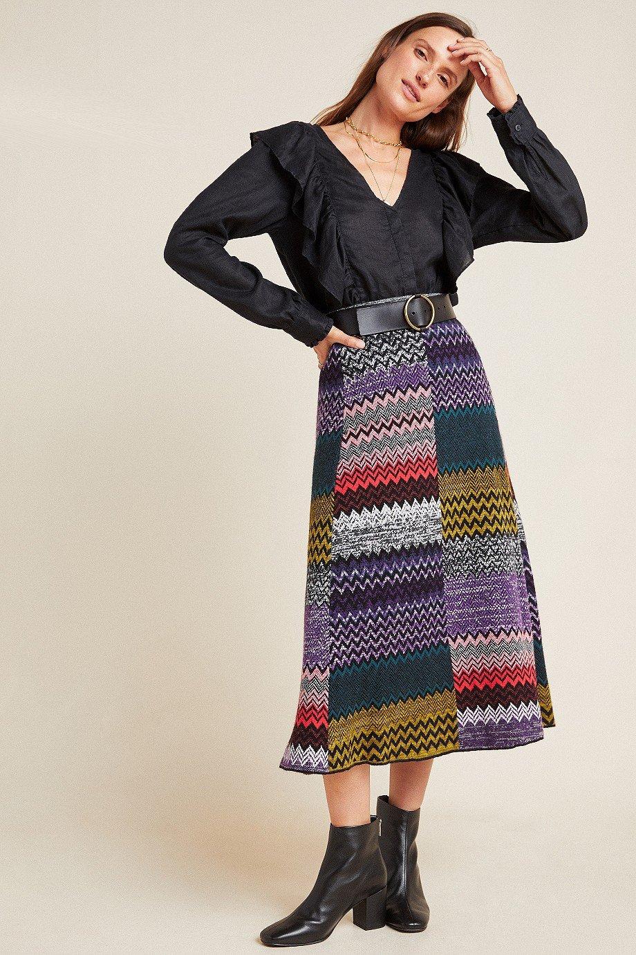 Patchwork Knit Midi Skirt