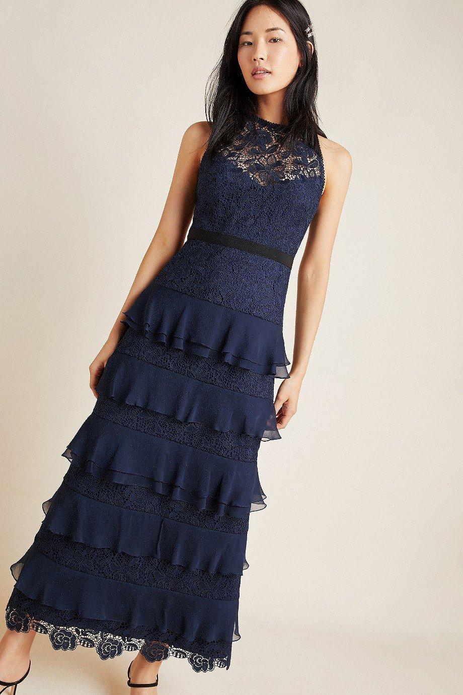 ML Monique Lhuillier Tiered Lace Maxi Dress