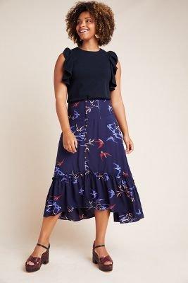 Merida Flounced Midi Skirt