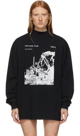 Off-White - Black & White Ruined Factory Long Sleeve T-Shirt