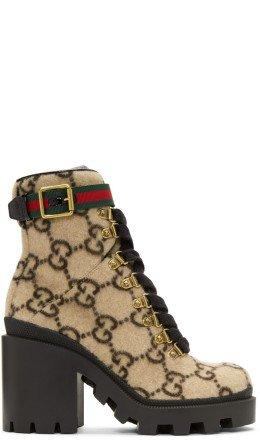 Gucci - Beige Wool GG Boots