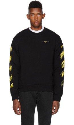 Off-White - SSENSE Exclusive Black & Yellow Acrylic Arrows Sweatshirt