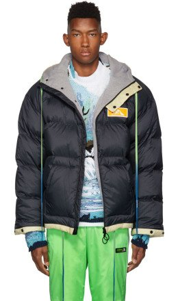 Off-White - Navy & Off-White Down Scaffolding Zipped Puffer Jacket