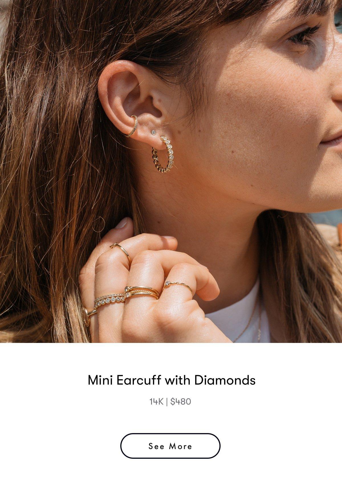 mini earcuff with diamonds