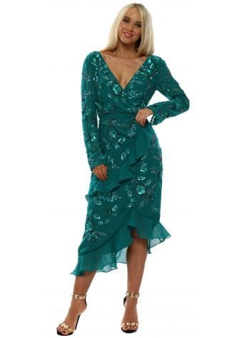 Hattie Teal Embellished Ruffle Wrap Dress