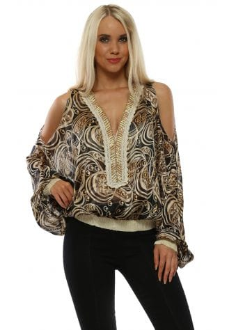 Black Swirl Print Cold Shoulder Top