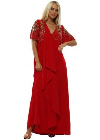 Raina Red Embellished Maxi Kaftan Dress