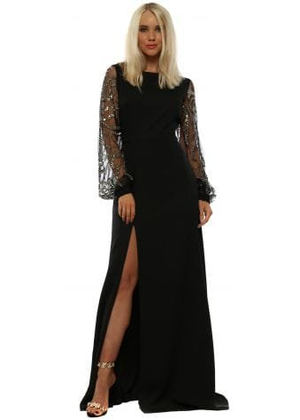 Cipriani Black Embellished Long Sleeved Maxi Gown