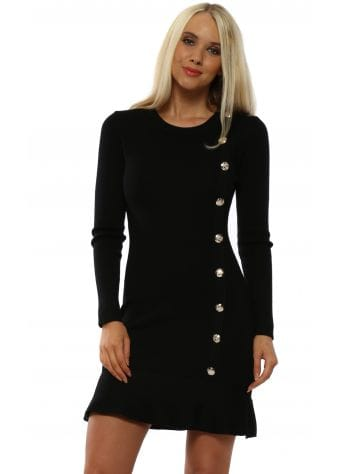 Black Gold Button Jumper Dress