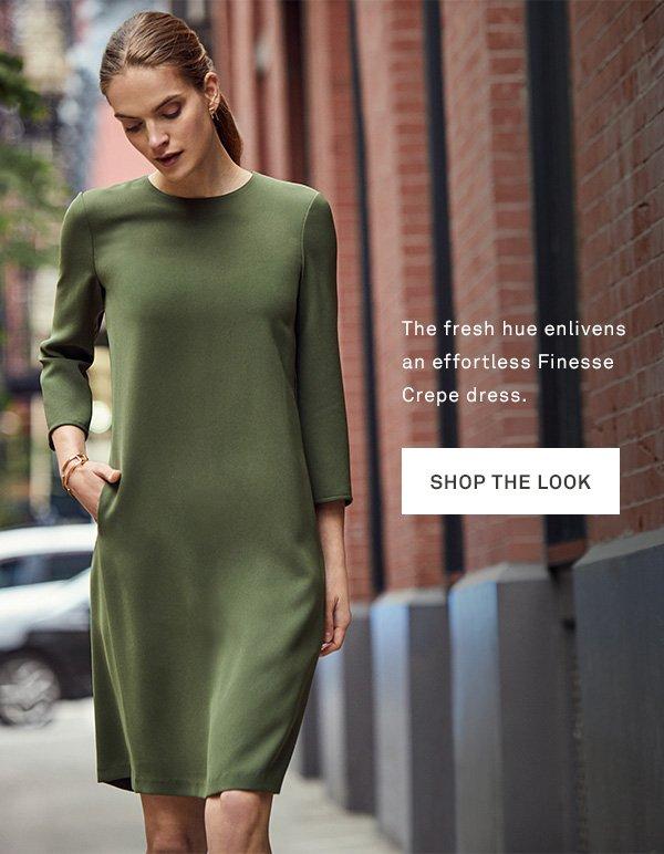 The fresh hue enlivens an effortless Finesse Crepe dress. - [SHOP THE LOOK]