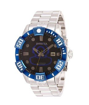 Invicta Pro Diver Mens Automatic 46 mm Stainless Steel, Blue Case Black Dial