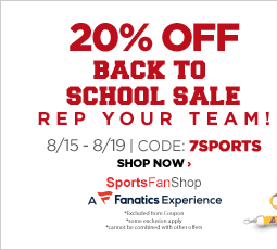 20% Off Back to School Sale. Rep Your Team! August 15 through August 19. Code: 7SPORTS. Shop Now. Sports Fan Shop A Fanatics Experience. *Exclusion from coupon. *Some exclusions apply. *Cannot be combined with other offers