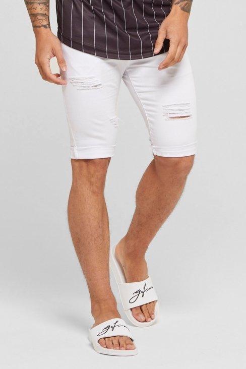 Destroyed White Denim Shorts