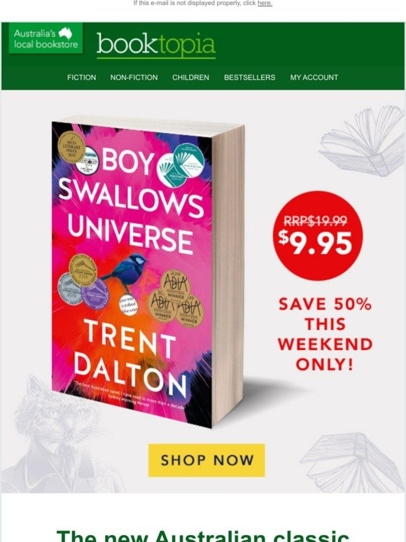 Booktopia: THIS WEEKEND ONLY: Save 50% on Boy Swallows