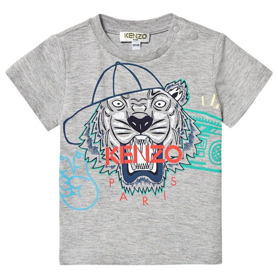 Kenzo Kids Grey Baseball Tiger Print T-Shirt