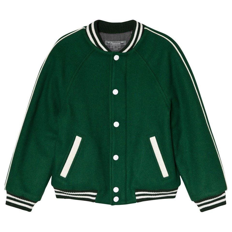 Bonpoint Green Wool Paris Applique Varsity Jacket