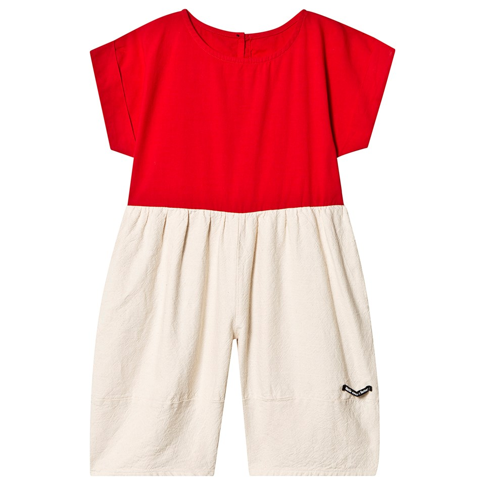 Little Creative Factory Red and Cream Contrast Origami Jumpsuit