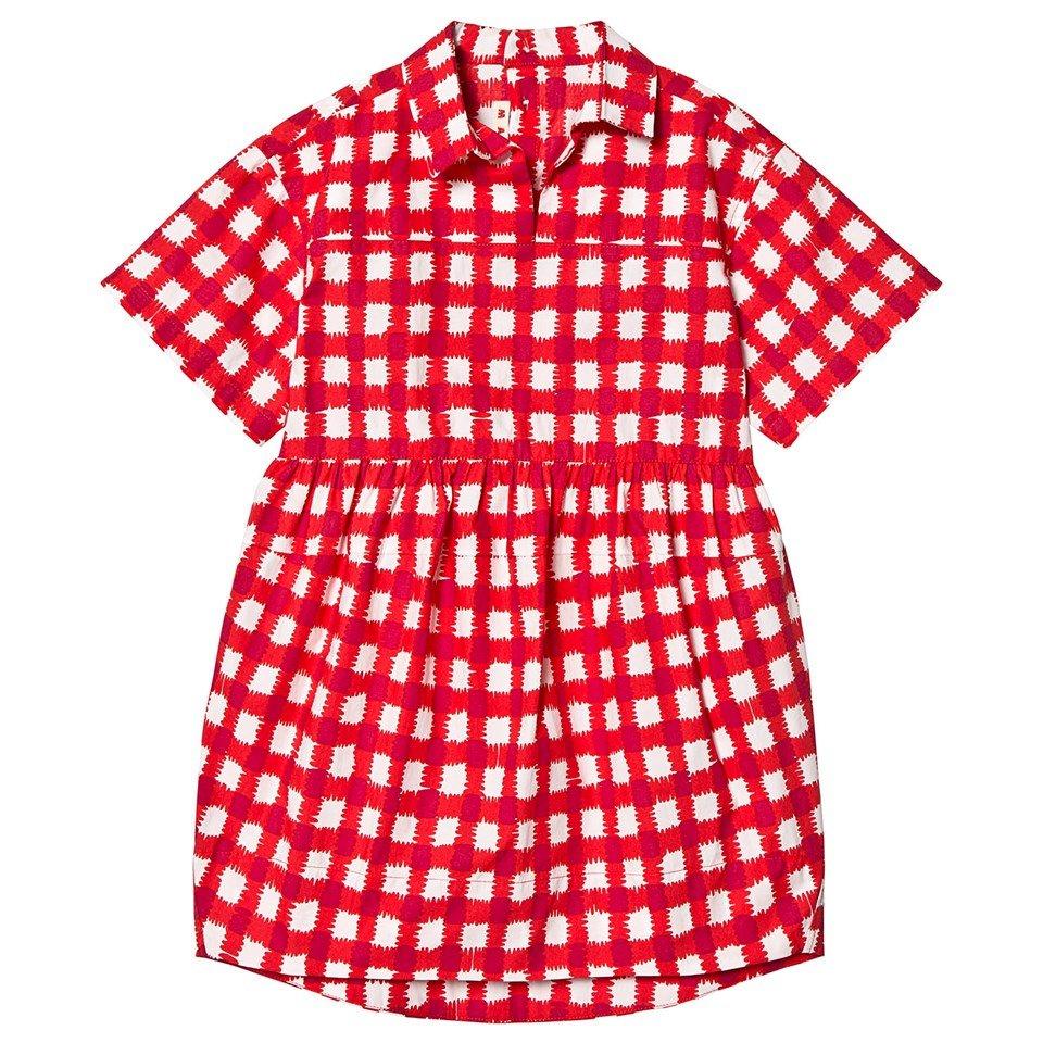 Marni Red Collar Check Dress
