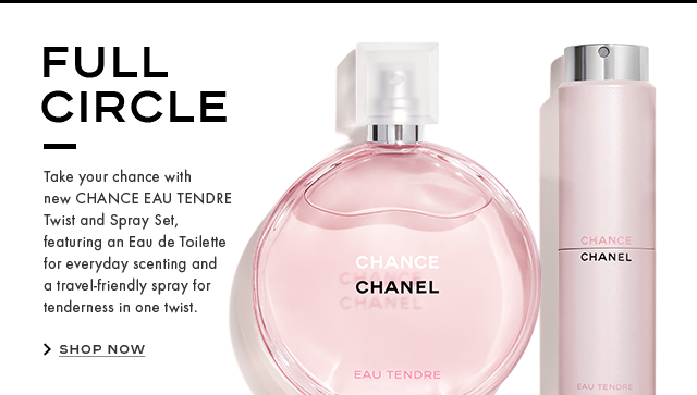 FULL CIRCLE Take your chance with new CHANCE EAU TENDRE Twist and Spray Set, featuring an Eau de Toilette for everyday scenting and a travel-friendly spray for tenderness in one twist.