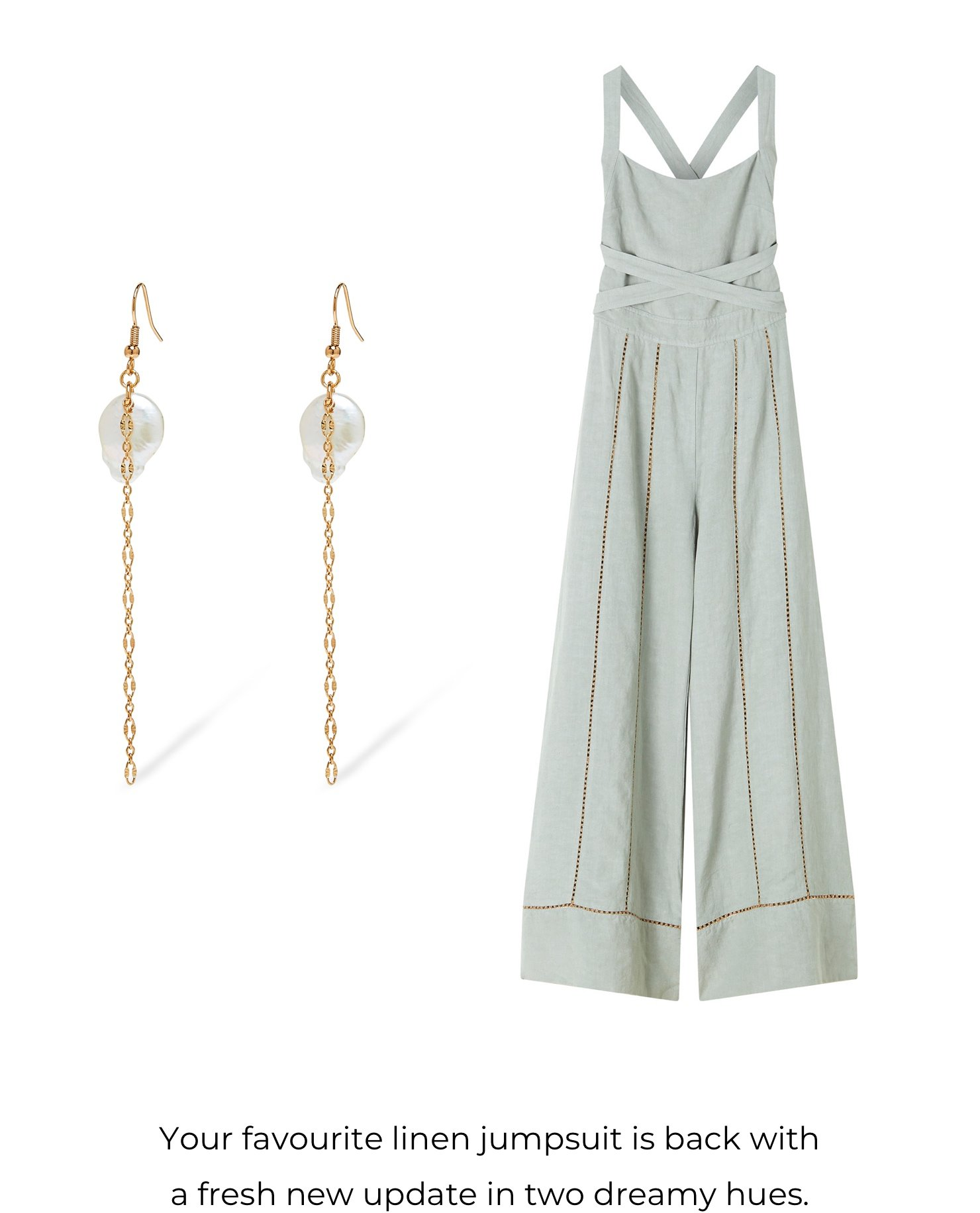 Your favourite linen jumpsuit is back with a fresh new update in two dreamy hues.