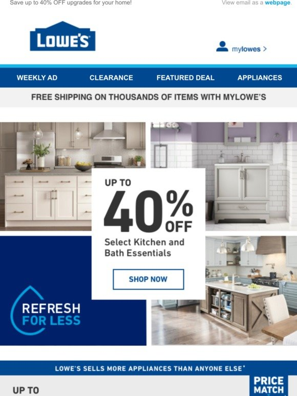 Lowes: 💧 The Kitchen and Bath Event Continues! 💧 | Milled