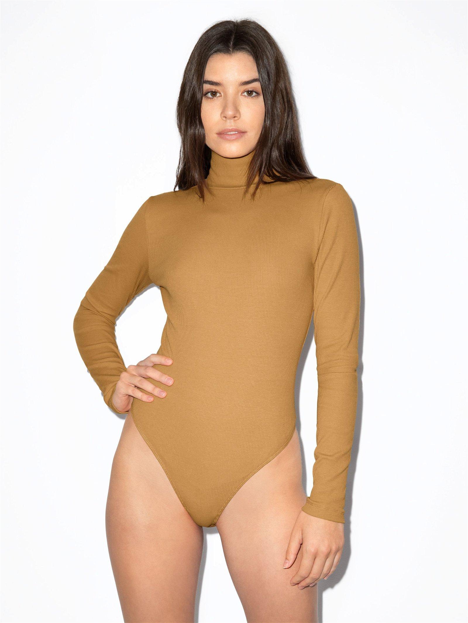 Women's Cotton 2x2 Turtleneck Long Sleeve Bodysuit in Honey Size X-Small by American Apparel