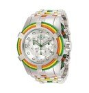 Invicta Bolt Mens Quartz 53 mm Stainless Steel, Red, Yellow, Green Case White, Green Dial