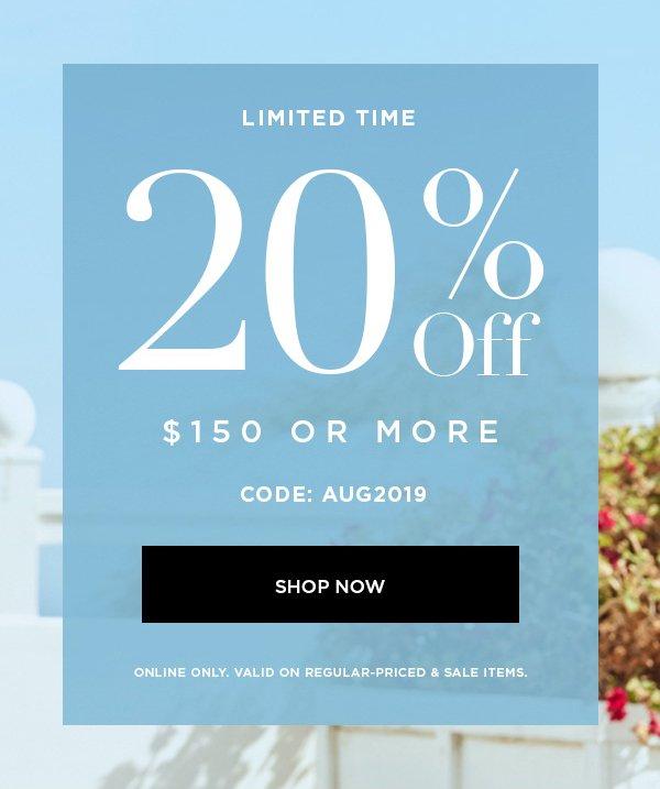 20% Off Shop Now