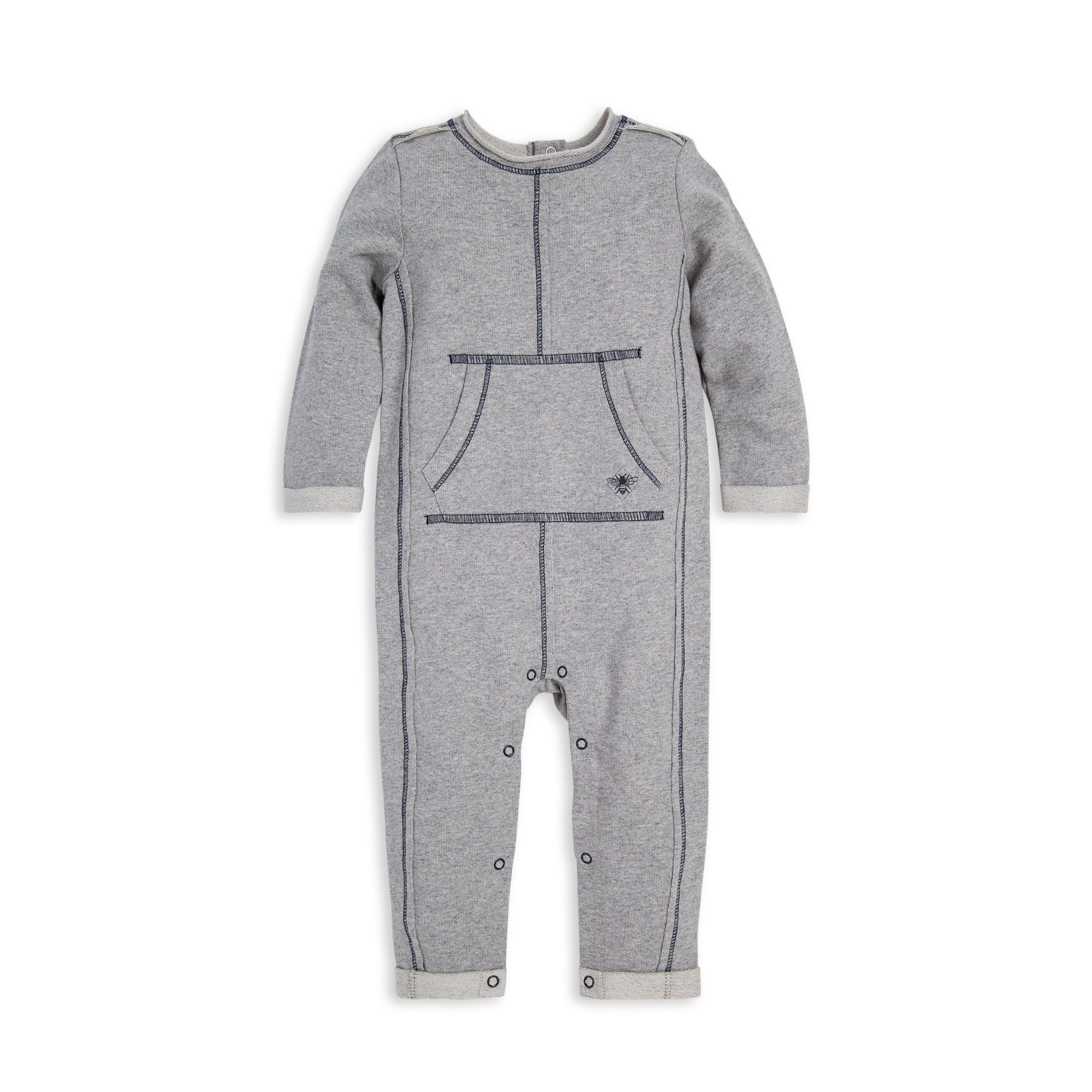 French Terry Raw Edge Organic Baby Jumpsuit