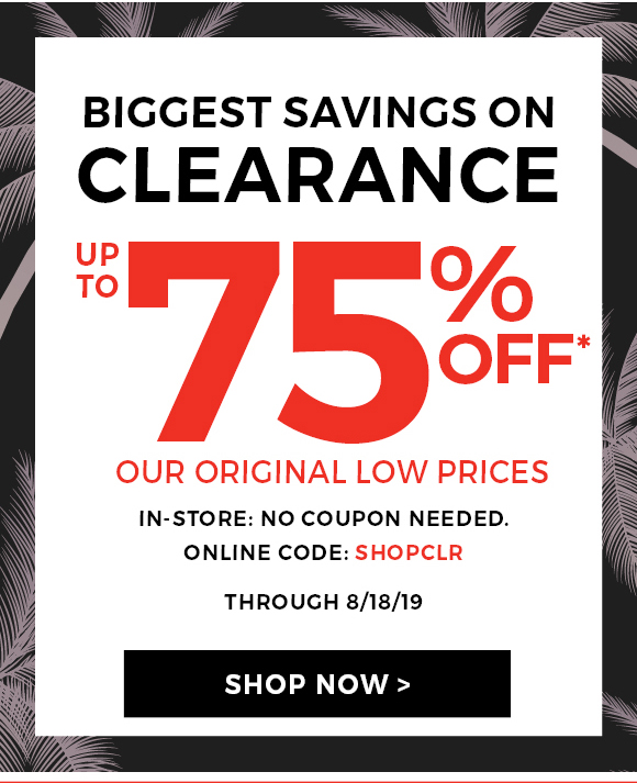 Up to 75% off Clearance:
