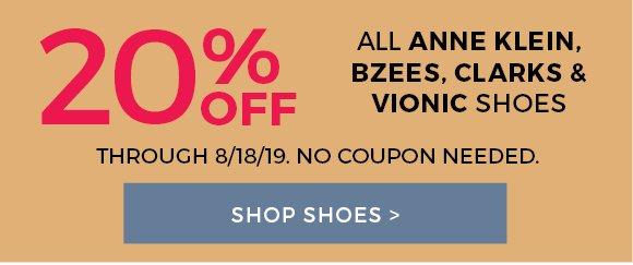 20% off Anne Klein, Bzees, Clark's & Vionic shoes, shop now