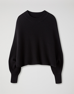 Textured Batwing Crop Sweater